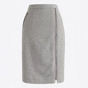 J Crew Pencil Skirt Assymetrical Zip Wool 16